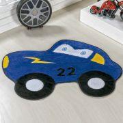 Tapete Infantil Premium Formato Carrinho 22 Azul Royal 74cm x 56cm