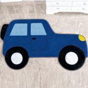 Tapete Infantil Premium Formato Carro Aventura Azul Royal 88cm x 62cm