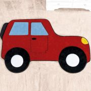 Tapete Infantil Premium Formato Carro Aventura Vermelho 88cm x 62cm