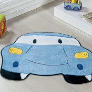 Tapete Infantil Premium Formato Carro Azul Turquesa 78cm x 60cm
