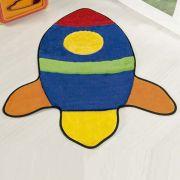 Tapete Infantil Premium Formato Foguete Azul Royal 76cm x 63cm