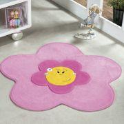 Tapete Infantil Premium Formato Menina Flor Rosa 70cm x 70cm