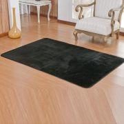 Tapete Retangular Premium p/ Sala Preto Liso 1,50m x 1,00m