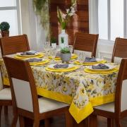 Toalha de Mesa Avulsa Jade Floral Amarelo p/ 06 Lugares - Tecido Jacquard