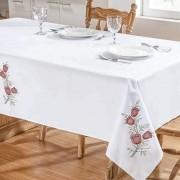 Toalha De Mesa Primavera 1,40X1,40 Branco/Vermelho
