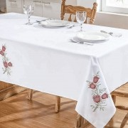Toalha De Mesa Primavera 2,50X1,40 Branco/Vermelho