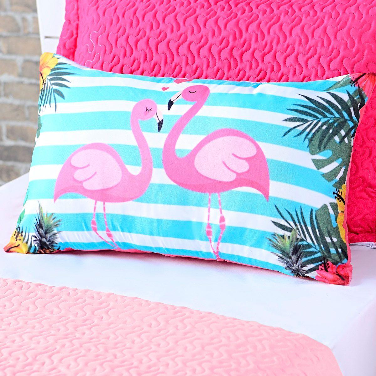 Almofada Avulsa Flamingo Rosa/Azul 60cm x 40cm c/ Refil