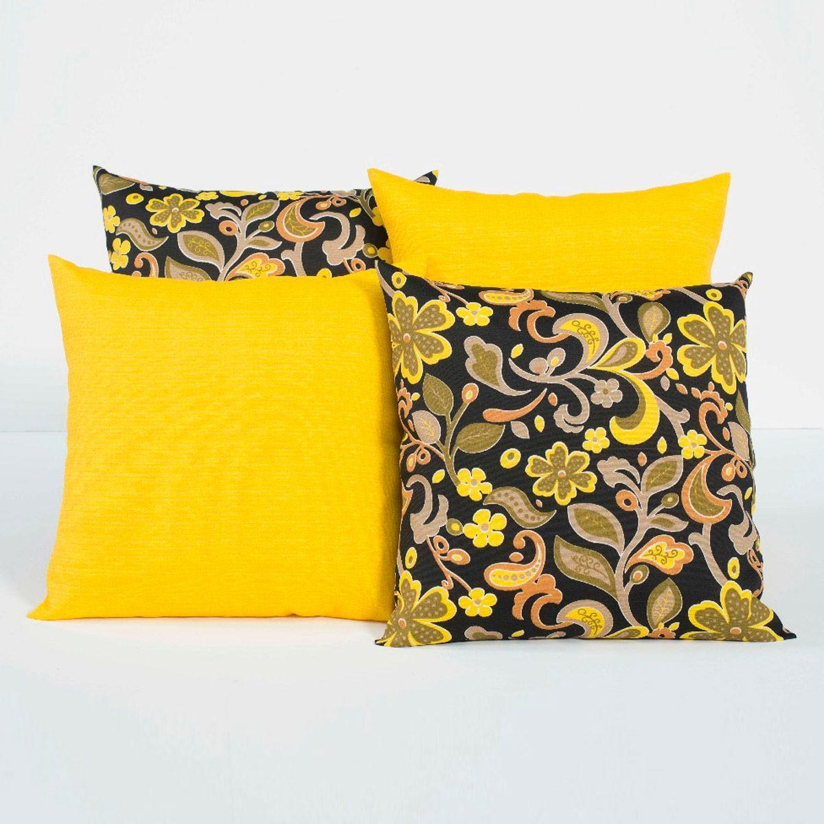 Almofadas Decorativas Amarelo/Preto 04 Peças c/ Refil