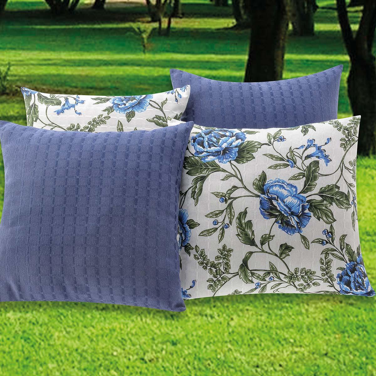 Almofadas Decorativas Azul 08 Peças c/ Refil
