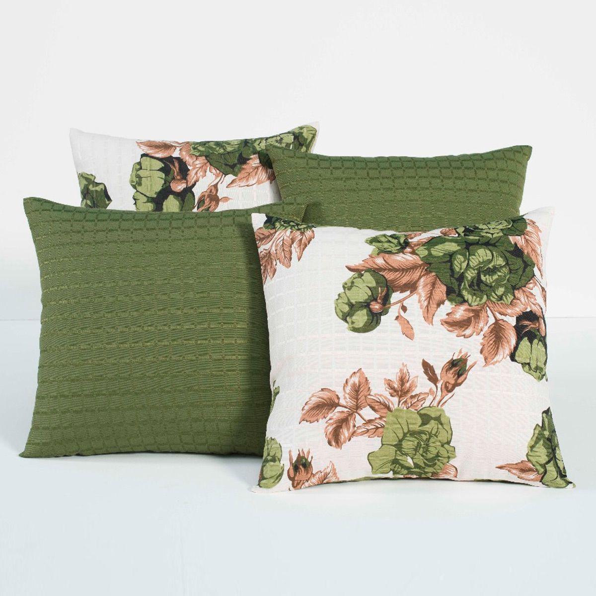 Almofadas Decorativas Floral Verde 04 Peças c/ Refil