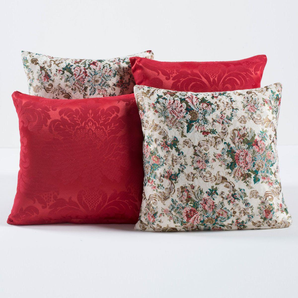 Almofadas Decorativas Floral Vermelho 04 Peças c/ Refil