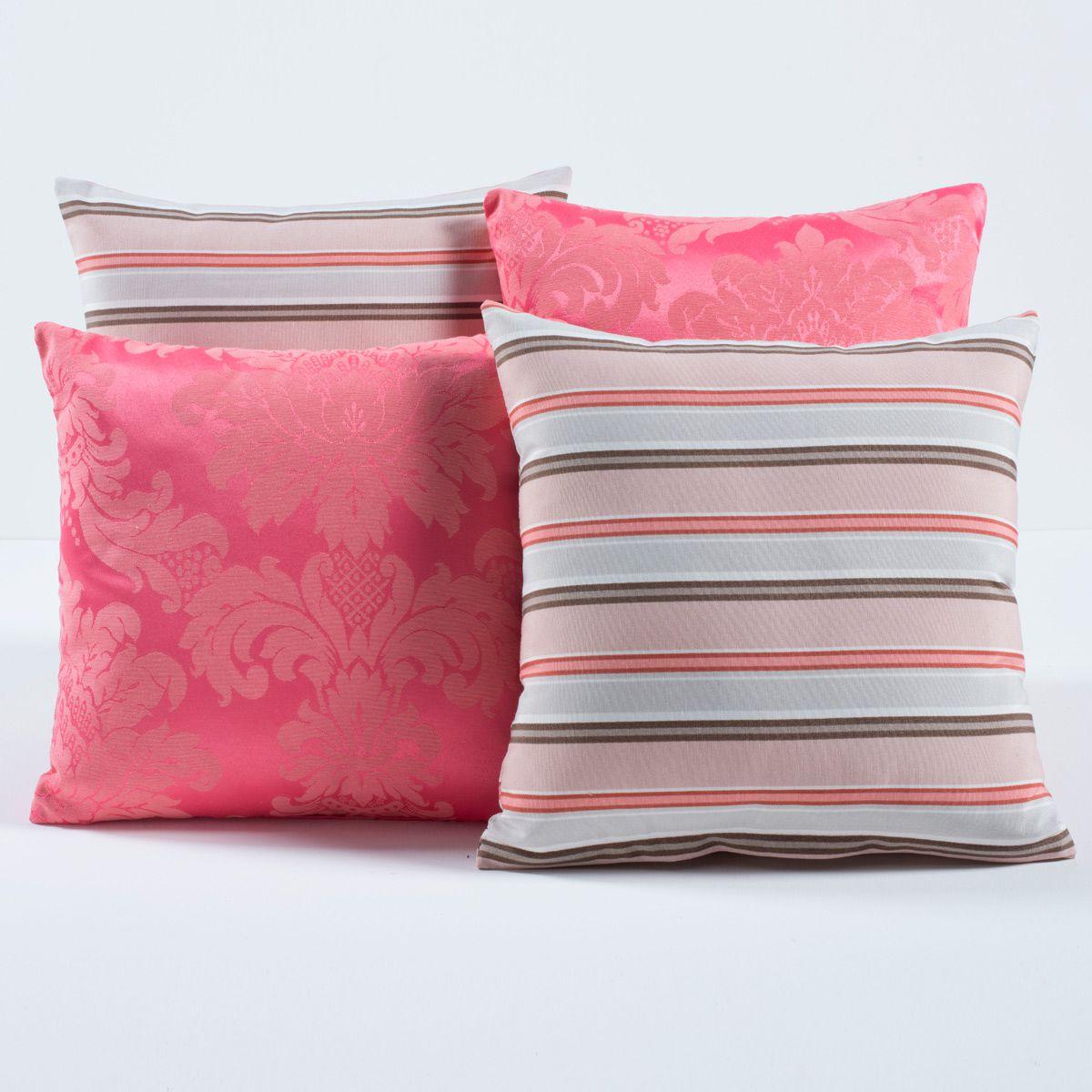Almofadas Decorativas Listras Rosa 04 Peças c/ Refil