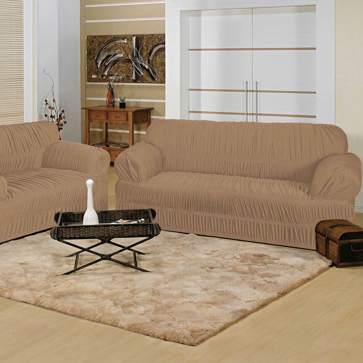 fbb6d73d9 Capa P/ Sofa Elegance 2 E 3 Lugares Caqui 21 Elásticos 02 Peças ...