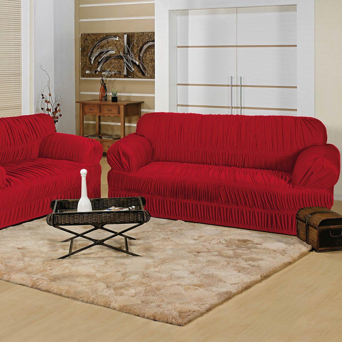 Capa p sofa elegance 2 e 3 lugares vermelho 21 el sticos for Sofa 02 lugares