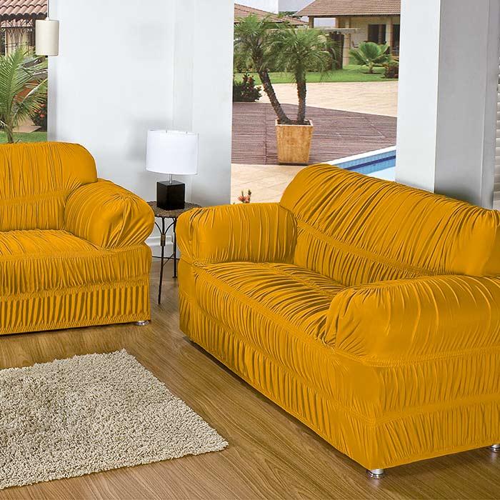 Capa p sofa roma 2 e 3 lugares mostarda malha elasticada for Sofa 02 lugares