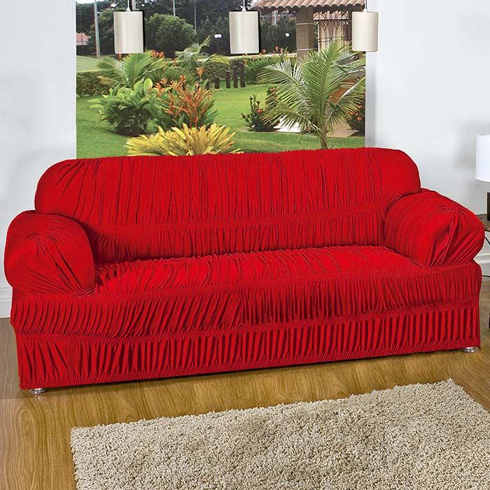 Capa P/ Sofa Roma 2 E 3 Lugares Vermelho Malha Elasticada 02 Peças 21 Elasticos