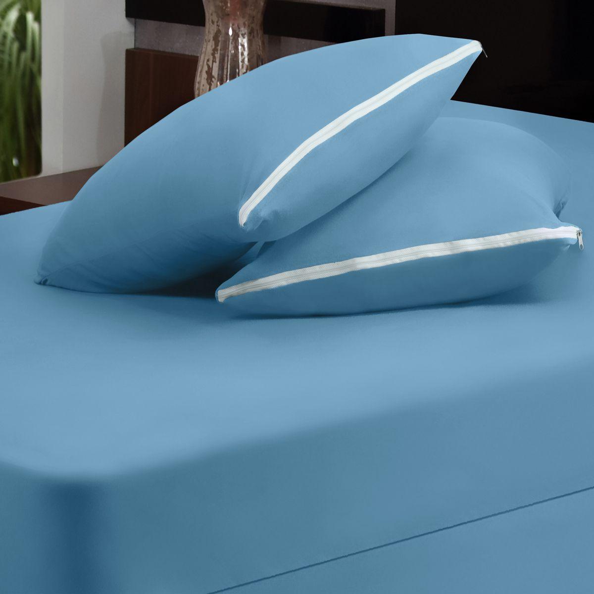 Capa para Colchão Azul Casal Padrão 03 Peças - Malha 100% Algodão