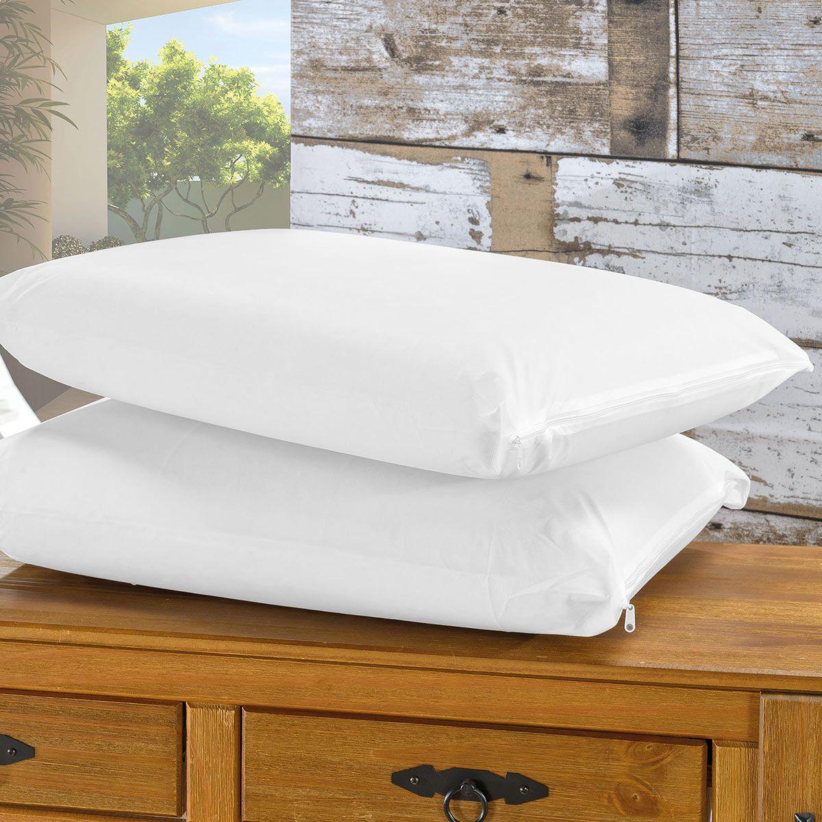 Capa Protetora Impermeável Para Travesseiro - Branco 20 Peças