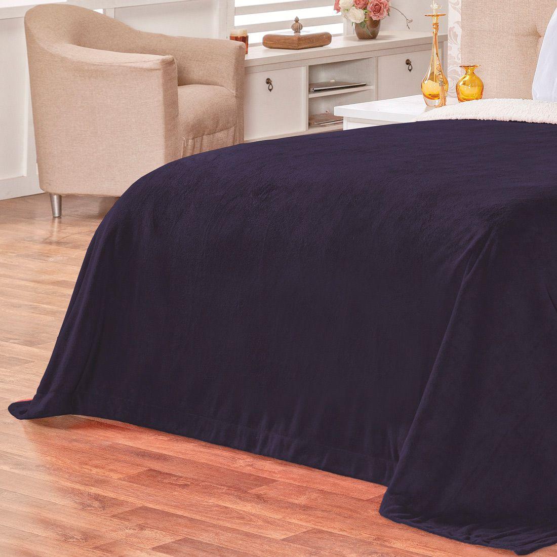 Cobertor Malmo Azul Marinho Dupla Face Queen - Tecido Sherpa e Manta Microfibra