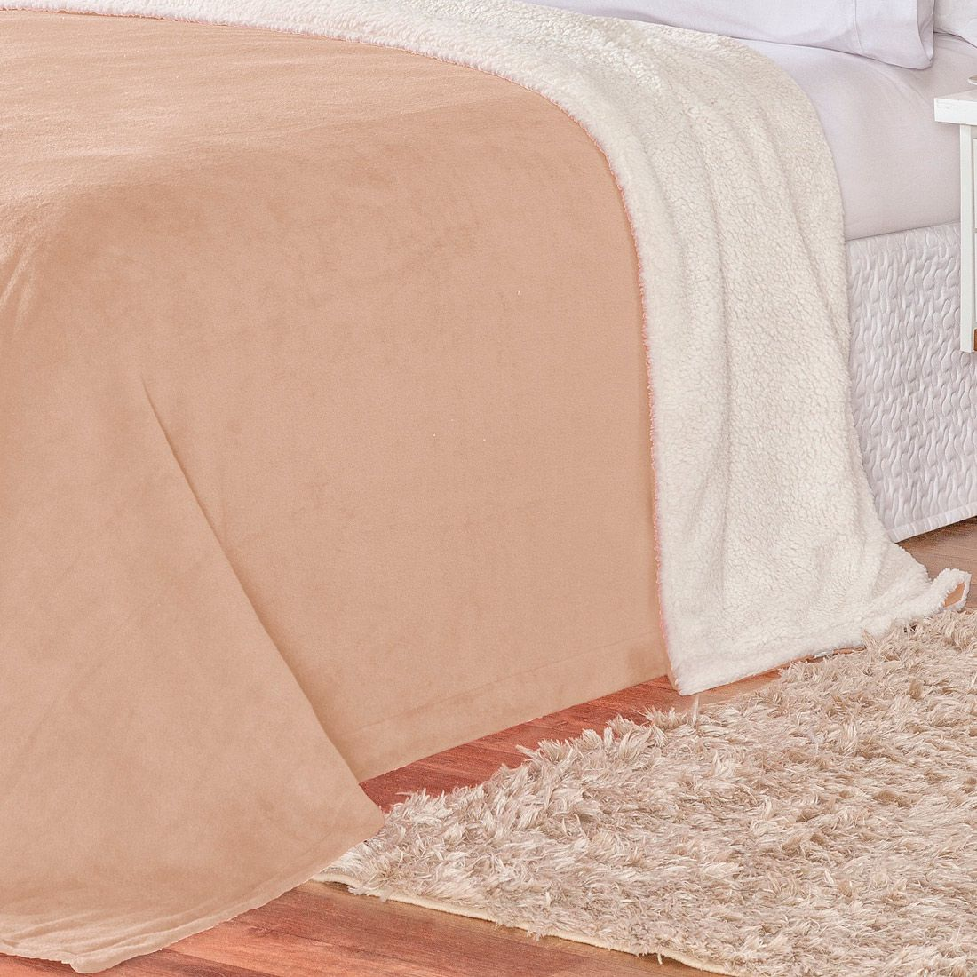 Cobertor Malmo Caqui Dupla Face King - Tecido Sherpa e Manta Microfibra