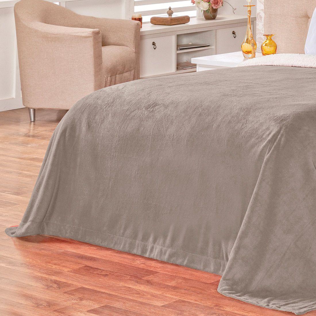 Cobertor Malmo Cinza Dupla Face Queen - Tecido Sherpa e Manta Microfibra