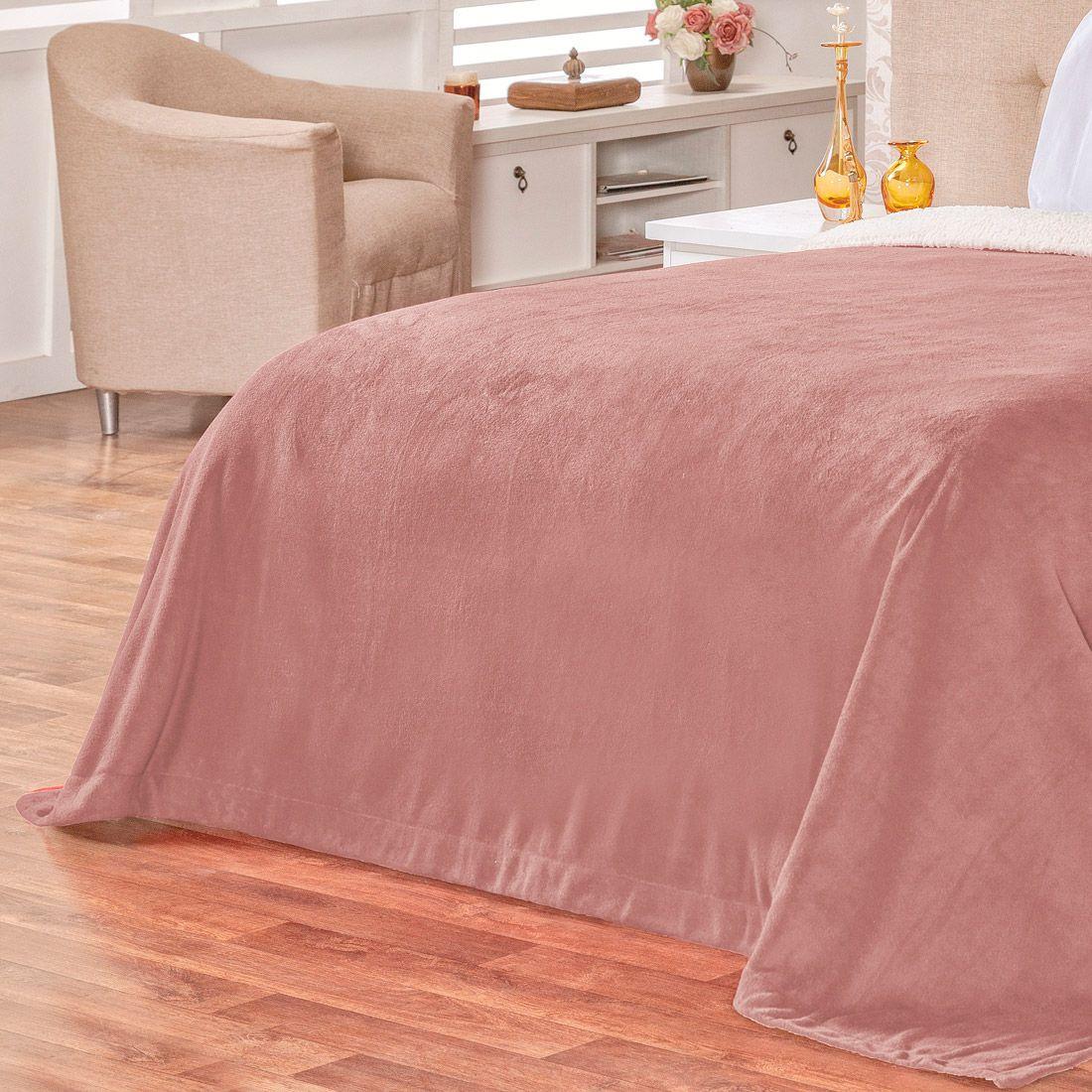 Cobertor Malmo Rosê Dupla Face Queen - Tecido Sherpa e Manta Microfibra