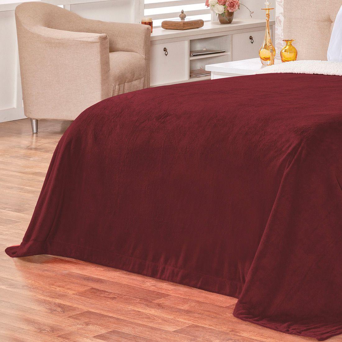 Cobertor Malmo Vinho Dupla Face Queen - Tecido Sherpa e Manta Microfibra