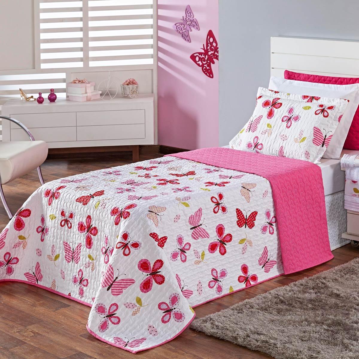 Cobre Leito Butterfly Pink Solteiro 02 Peças Dupla Face 150 Fios