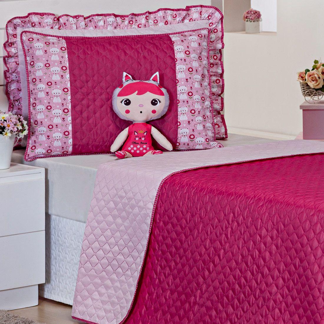 Cobre Leito Doll Gatinha Pink/Rosa Dupla Face c/ Boneca Solteiro 04 Peças