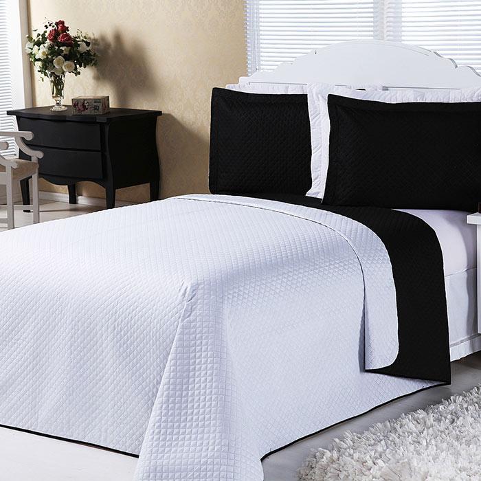 Cobre Leito Dual Color Preto E Branco Casal 03 Peças