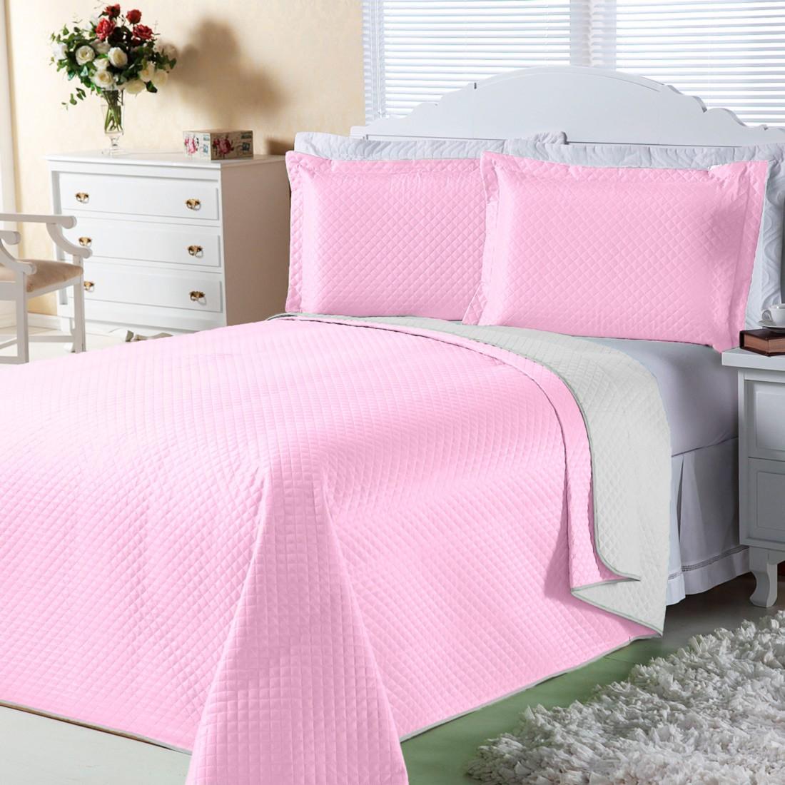 Cobre Leito Dual Color Rosa/Branco Solteiro 02 Peças