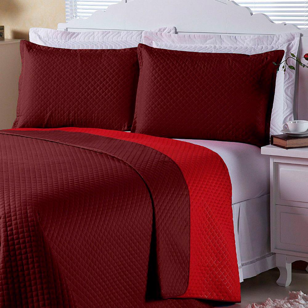 Cobre Leito Dual Color Scarlet E Vermelho Solteiro 02 Peças