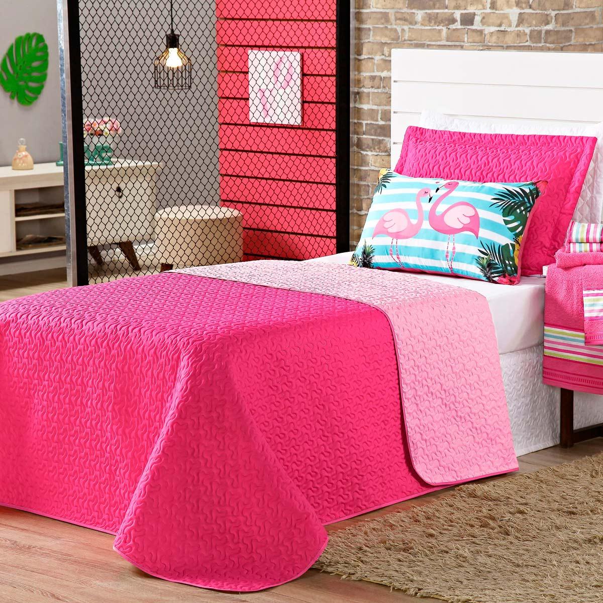 Cobre Leito Flamingo Pink/Rosa Dupla Face c/ Almofada Casal 04 Peças