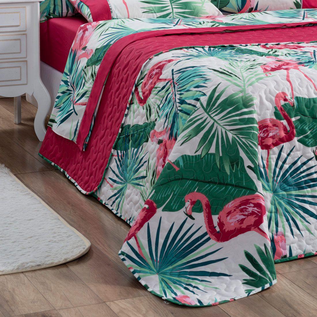 Cobre Leito Forest Flamingo Solteiro Dupla Face Micropercal 200 fios 02 peças