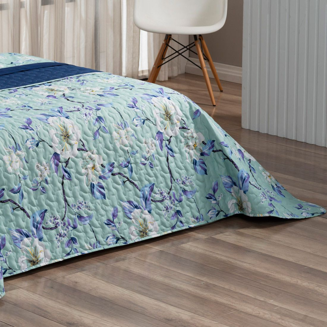 Cobre Leito Forest Floral Verde/Azul Marinho Solteiro Dupla Face Micropercal 200 fios 02 peças
