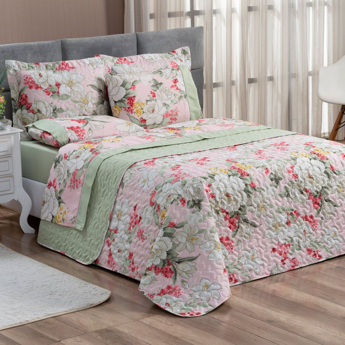 Cobre Leito Forest Floral Verde/Rosê Queen Dupla Face Micropercal 200 fios 03 peças