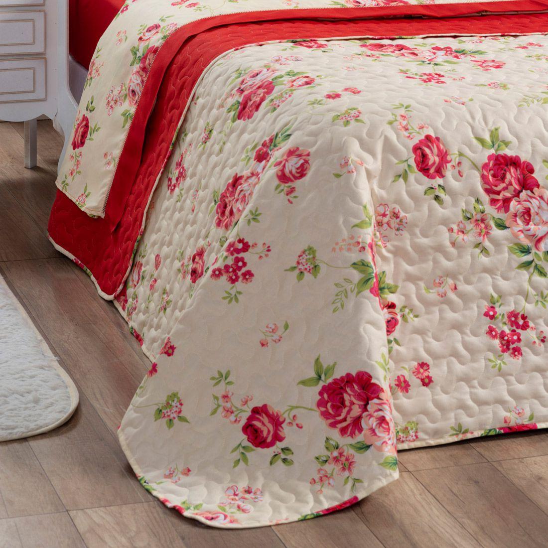 Cobre Leito Forest Floral Vermelho Casal Dupla Face Micropercal 200 fios 03 peças