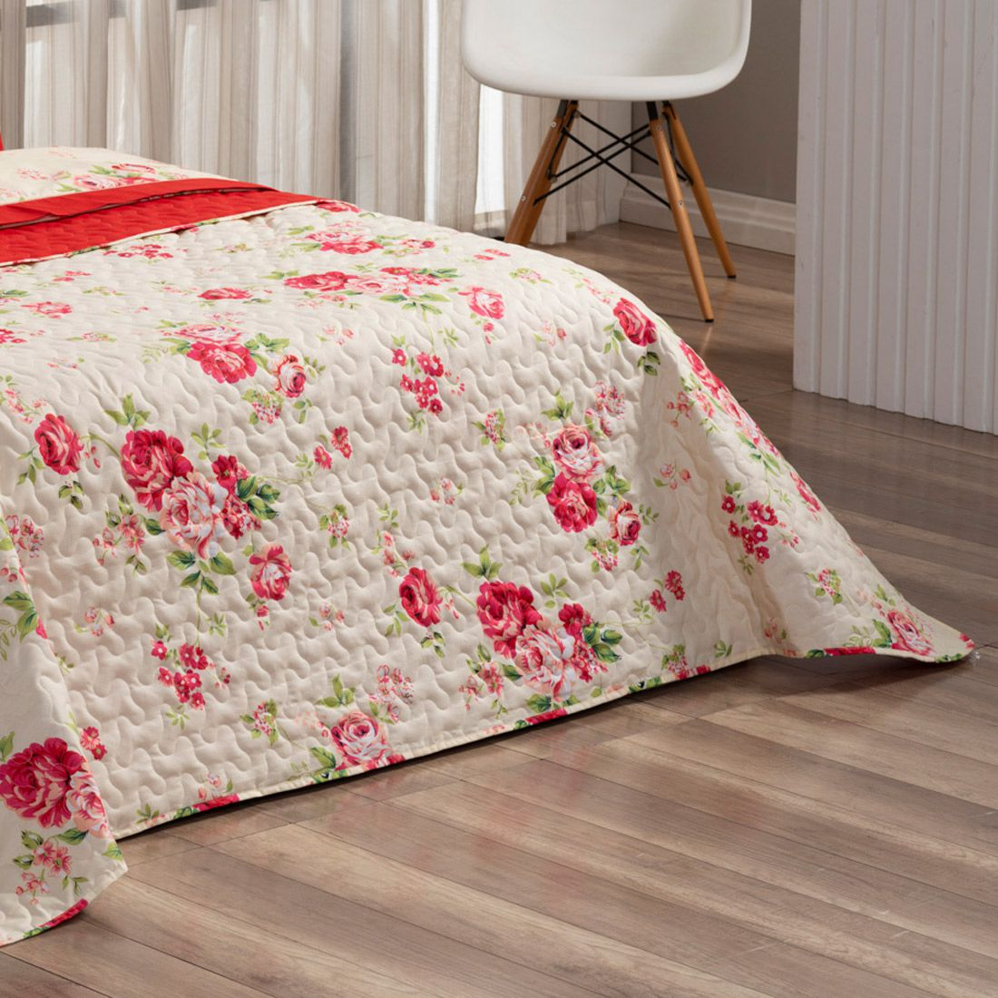 Cobre Leito Forest Floral Vermelho Super King Dupla Face Micropercal 200 fios 03 peças