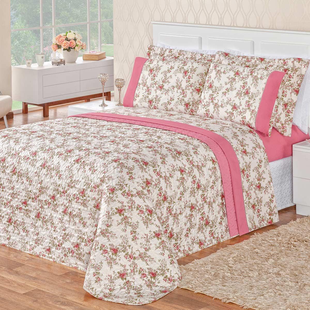Cobre Leito Naturale Floral Rosa Queen Dupla Face MicroPercal 200 Fios 03 peças