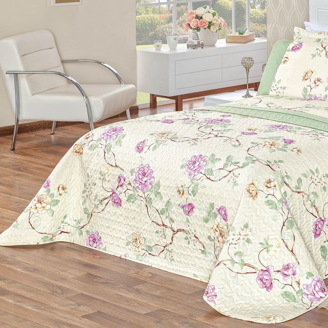 Cobre Leito Naturale Floral Verde Casal Dupla Face MicroPercal 200 Fios 03 peças