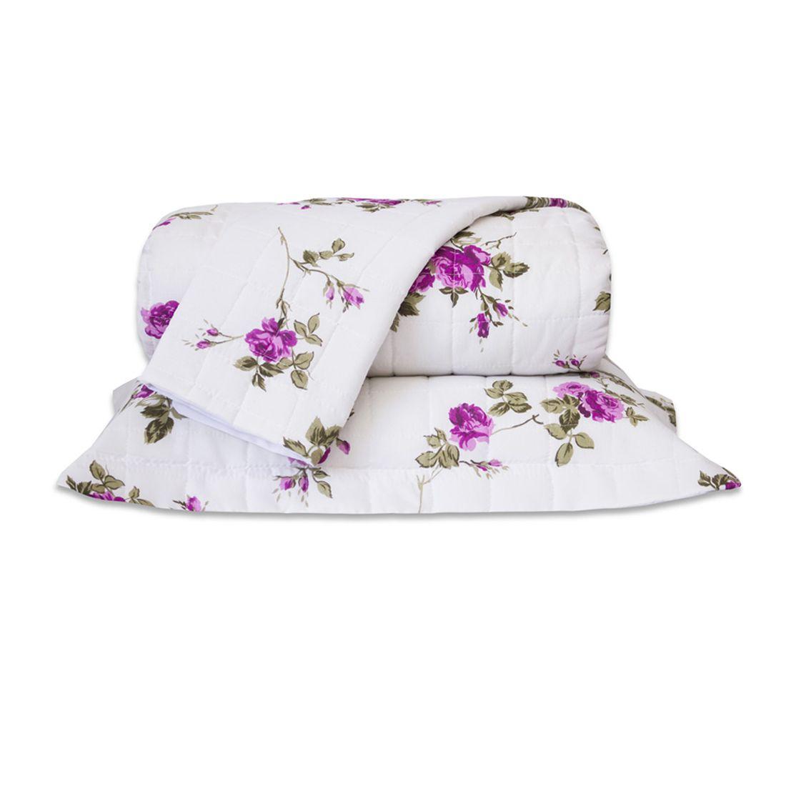 Cobre Leito Standard Flores Pink Queen 160 Fios 03 Peças
