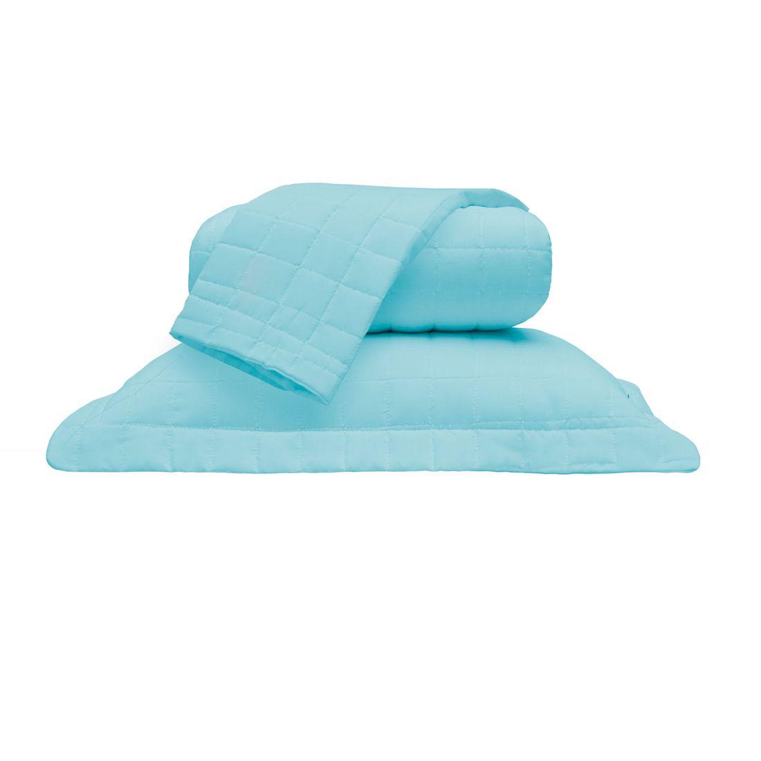 Cobre Leito Standard Liso Azul King 160 Fios 03 Peças