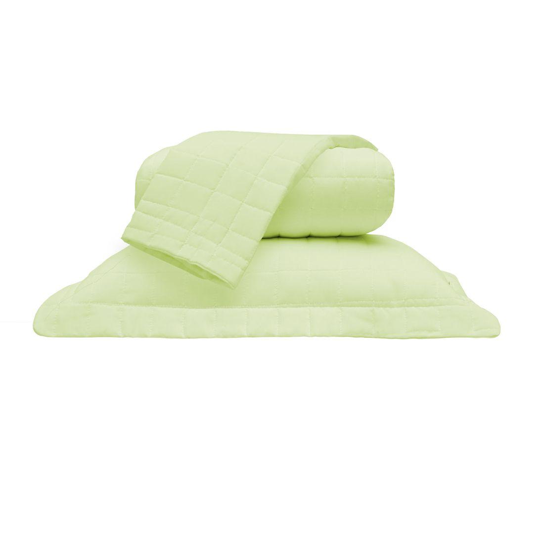 Cobre Leito Standard Liso Verde King 160 Fios 03 Peças