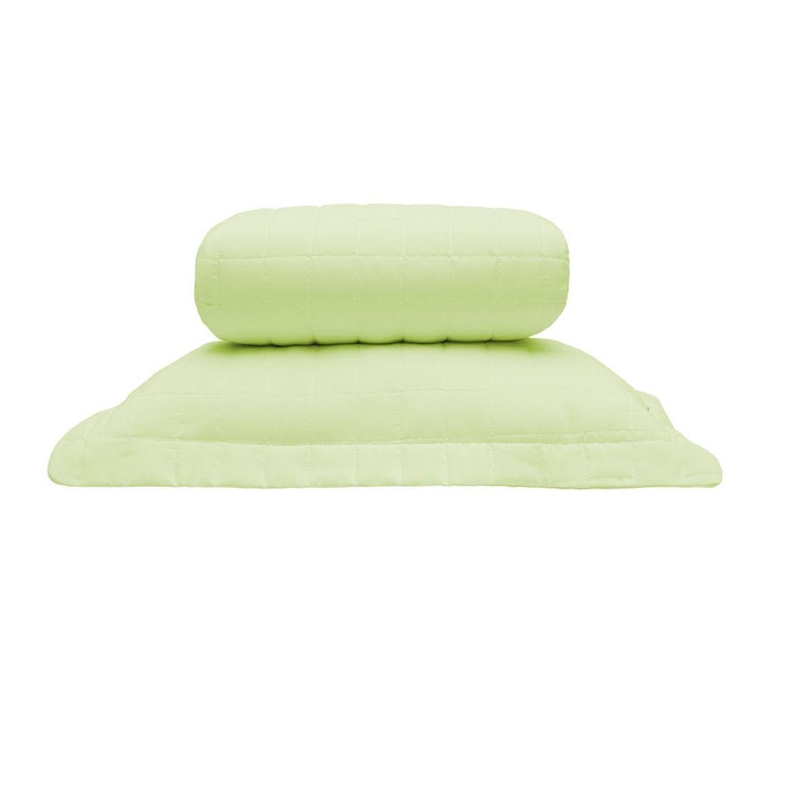 Cobre Leito Standard Liso Verde Solteiro 160 Fios 02 Peças