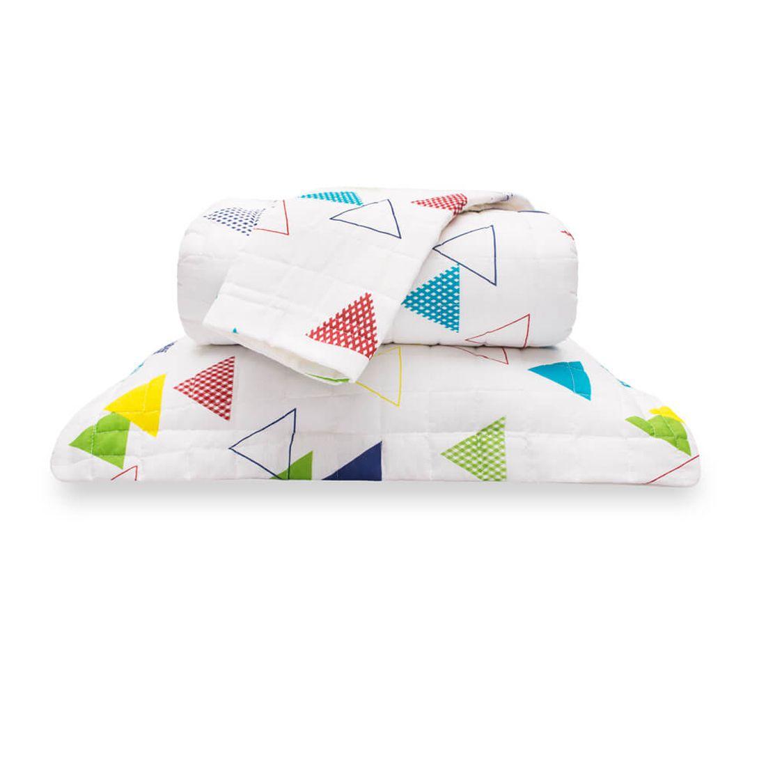 Cobre Leito Standard Triângulos Branco Queen 160 Fios 03 Peças