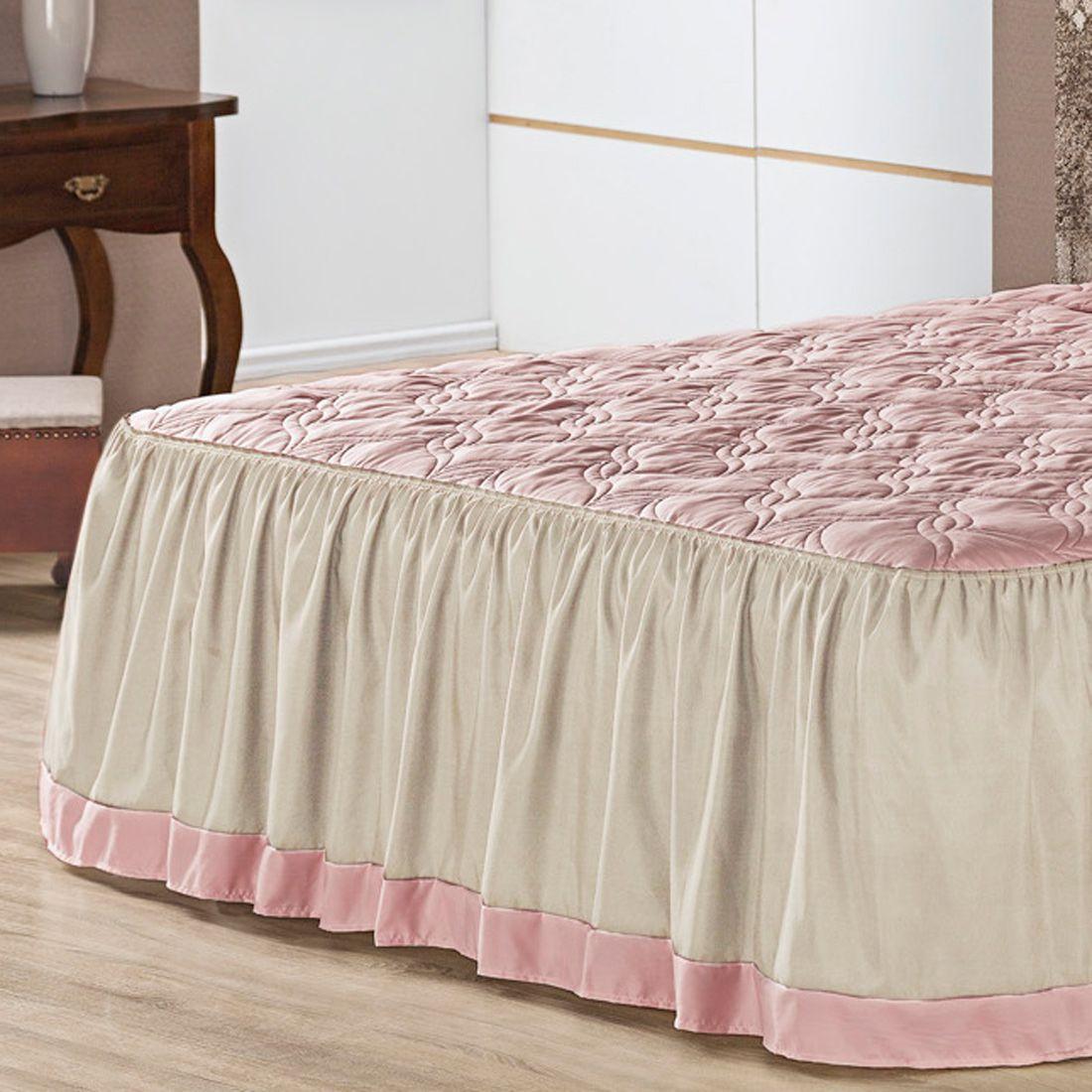 Colcha c/ Travesseiros Melina Rosê Queen 05 Peças