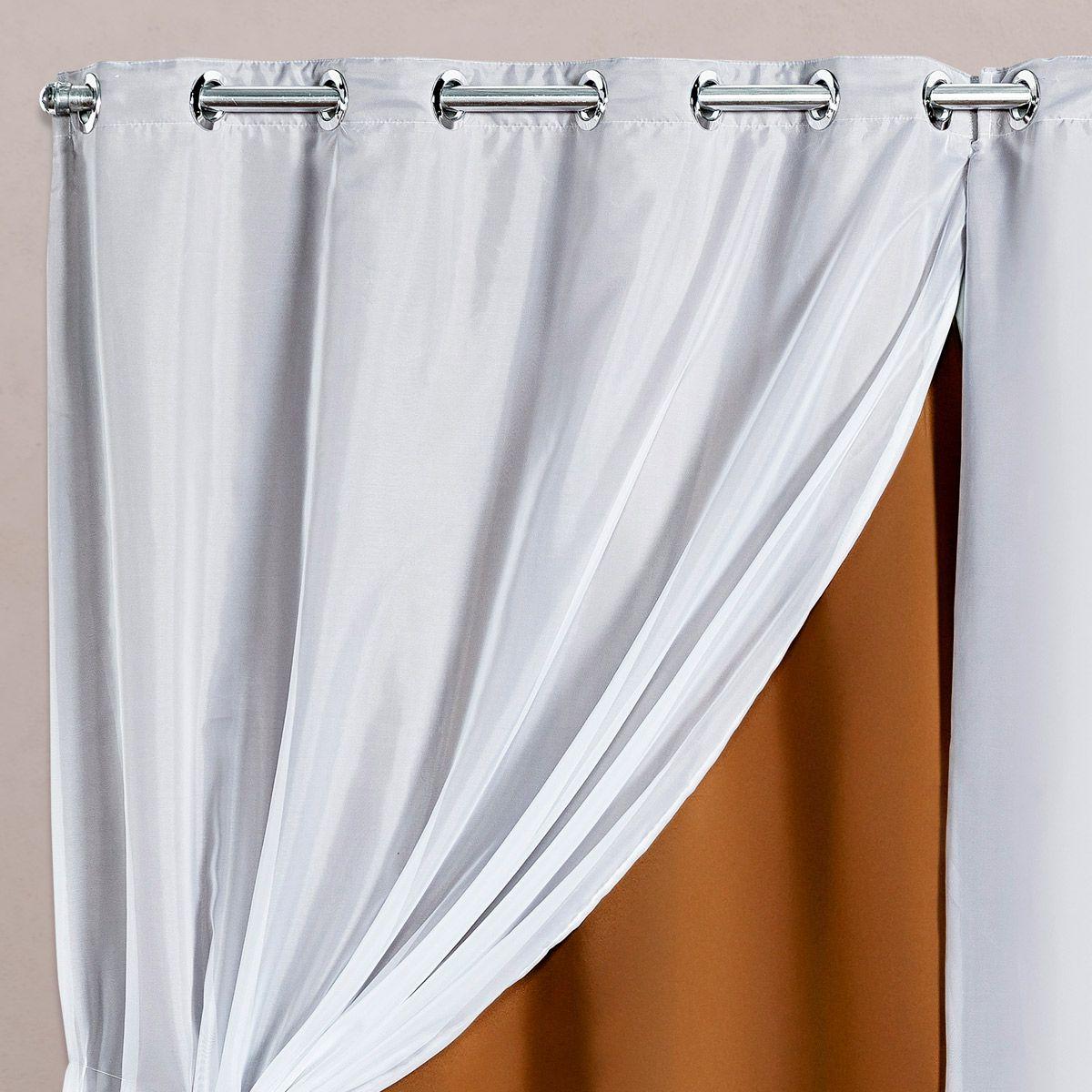 Cortina Blackout em Tecido Class c/ Voil Avelã/Branco Corta Luz 2,80m x 1,60m