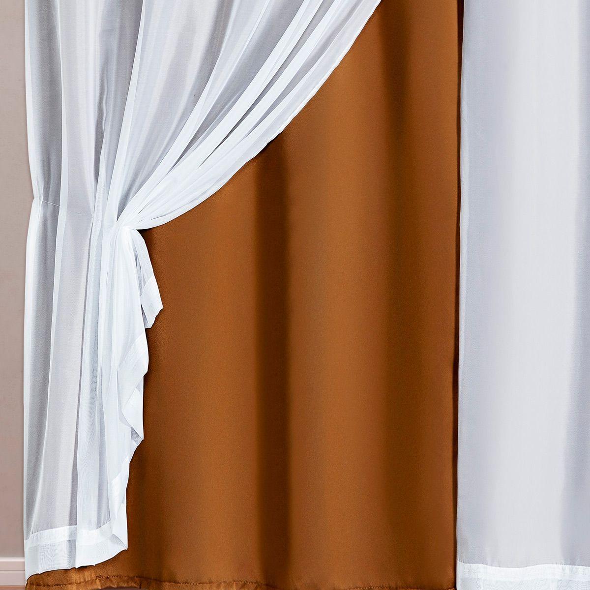Cortina Blackout em Tecido Class c/ Voil Avelã/Branco Corta Luz 2,80m x 2,30m