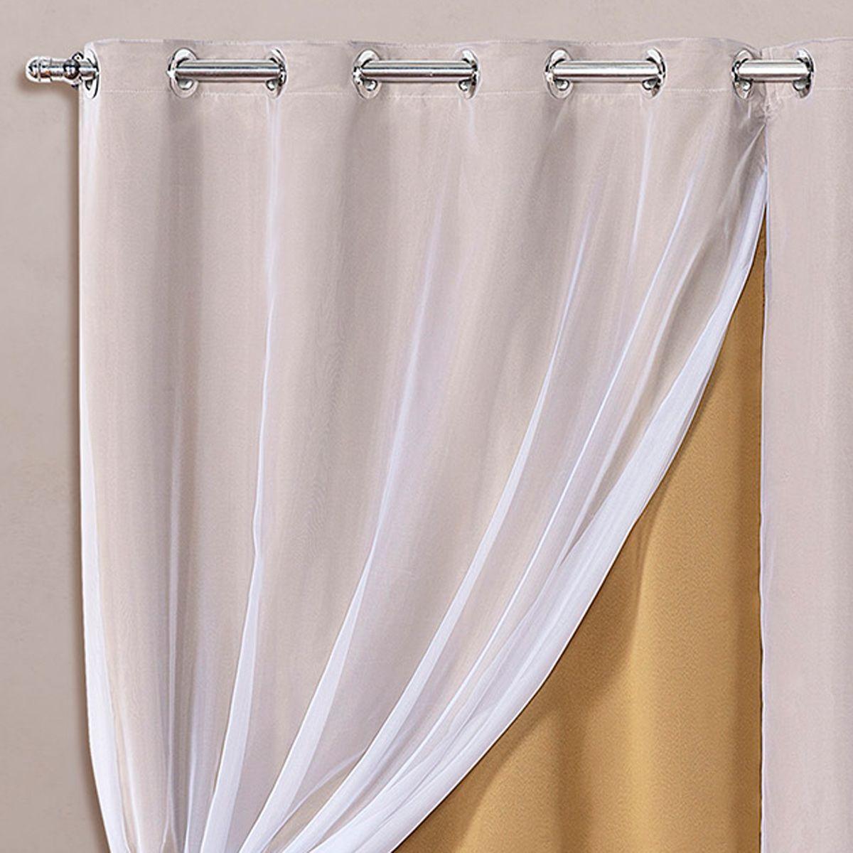 Cortina Blackout em Tecido Class c/ Voil Dourado/Branco Corta Luz 2,80m x 1,60m