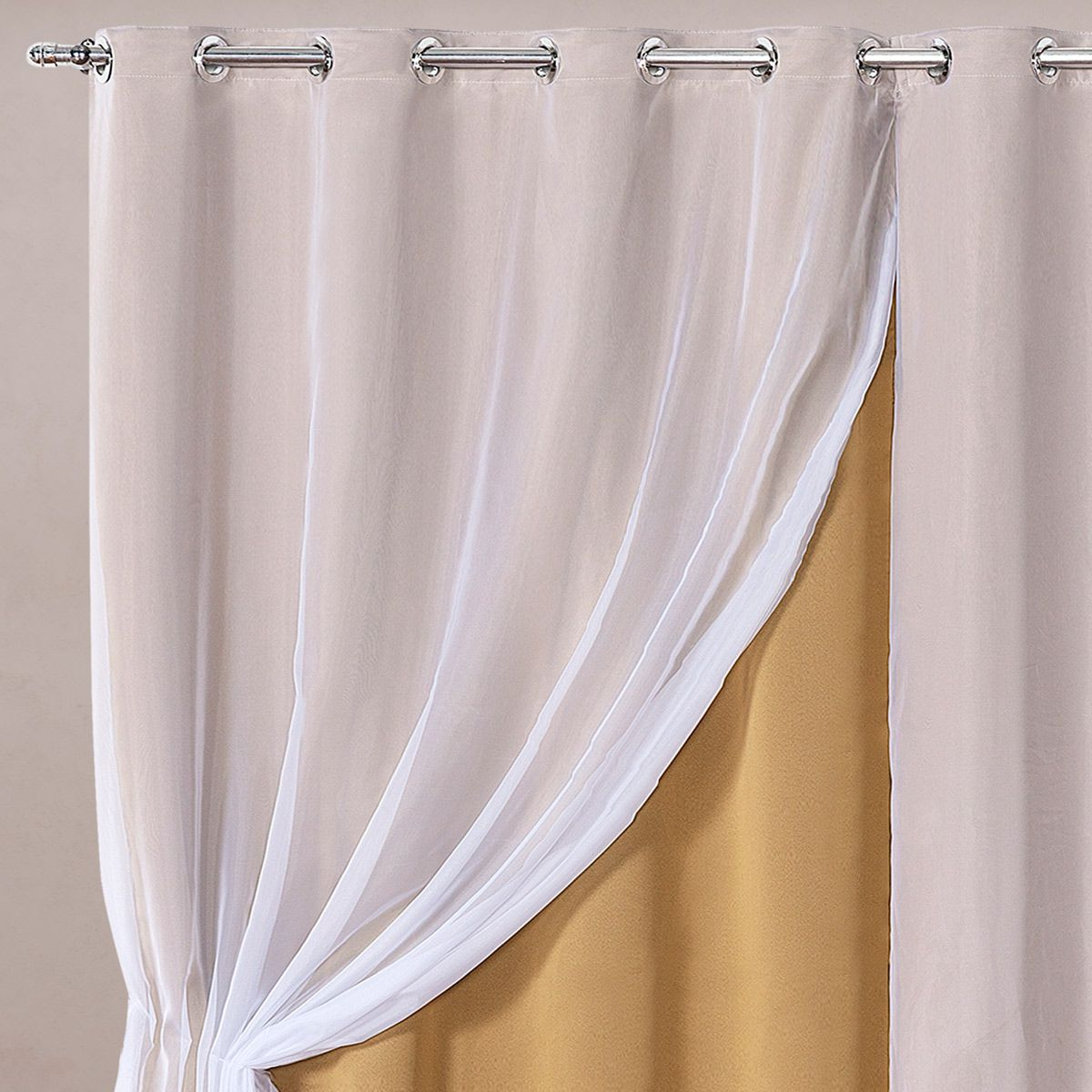 Cortina Blackout em Tecido Class c/ Voil Dourado/Branco Corta Luz 2,80m x 2,30m